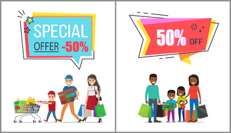 Special offer with 50 off for family shopping. Parents with children holds huge bags with purchases and carry full trolley vector illustrations. Illustration