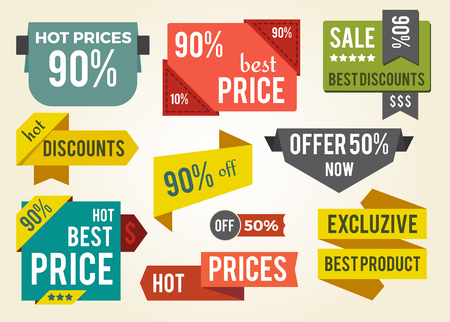 Hot Prices Best Discounts Vector Illustration