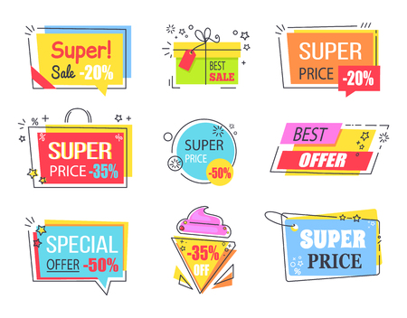 Best offer with huge discount promotional emblems. Logotypes in form of tasty ice cream, gift box, shopping bag and visit card vector illustrations.