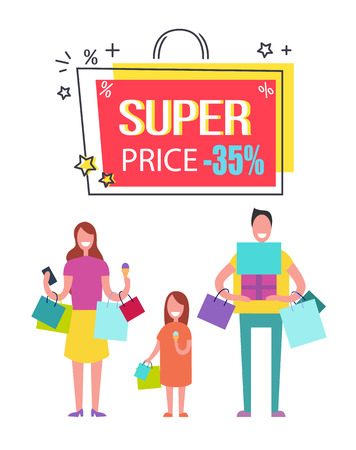 Super price with 35 off banner with family who has hands full of shopping bags and gift boxes which they have by low price vector illustration.