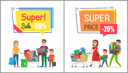 Super sale with nice price promo posters. Happy families spend time together on shopping and carry full trolleys with goods vector illustrations.