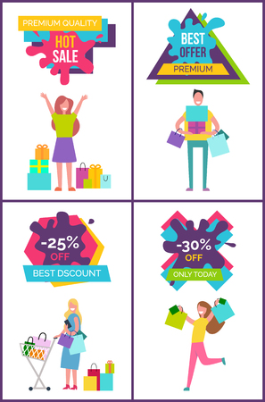 Premium quality hot sale, best offer and discount only today, set of posters with text above and images of shopping people below vector illustration Ilustração