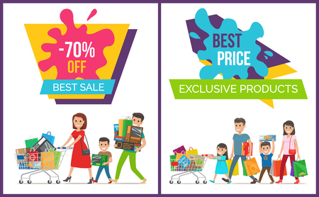 Exclusive products, -70 off best price and sale, collection with images of customers and bags, carts and good mood on vector illustration Çizim