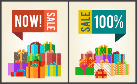Now sale save 100 push buttons on promo labels on banners with gift boxes vector illustration poster with piles of presents in color wrapping paper