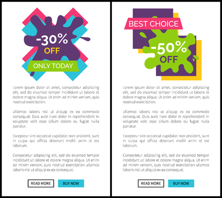 Only Today Best Choice Set Vector Illustration
