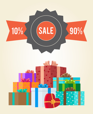 Sale from 10 to 90 buy now promo label with piles of gift boxes vector illustration poster with mountains of presents in decorative paper Illustration