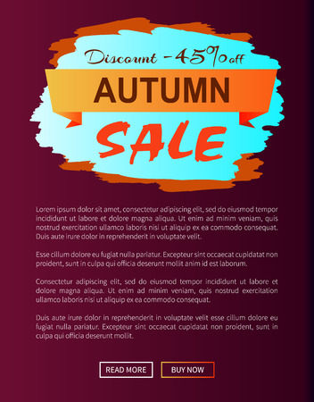 Autumn discount -45 clearance with icon of colorful sign brush strokes of blue and orange colors vector illustration with seasonal sale advertisement