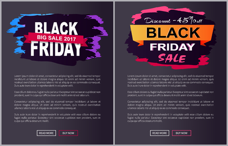 Discount -45 off Black Friday big sale 2017 promo label inscription informing about special offer, commercial web banners with text vector illustrations