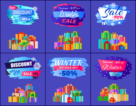 Best discount winter sale posters set promo labels with percent off signs, decorated by snowflakes and pile of gift present boxes vector illustrations