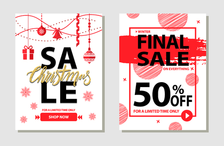 Winter Final Sale Posters Set Vector Illustration