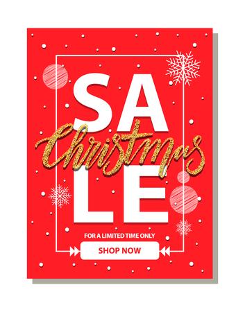 Sale Christmas Shop Now on Vector Illustration. Illustration