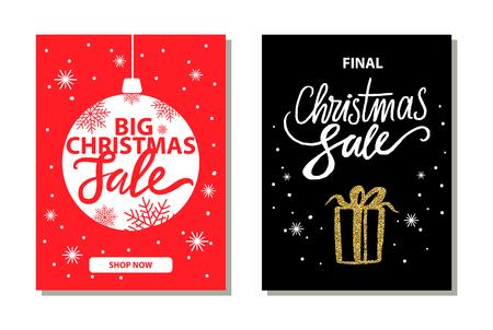 Shop Now Big Christmas Sale Vector Illustration.
