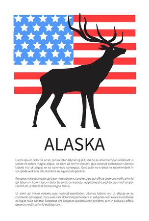 Alaska Flag, Icon of Reindeer Vector Illustration Фото со стока - 100060172
