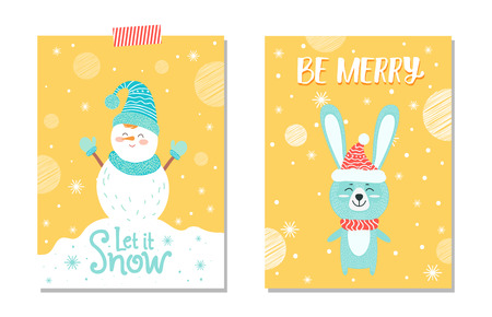 Let It Snow and Be Merry on Vector Illustration.