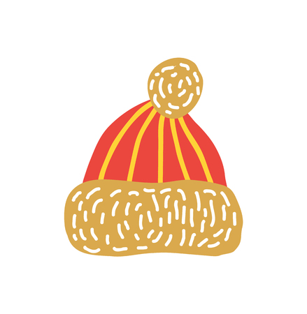 Red Knitted Hat with Bubo Vector Illustration.