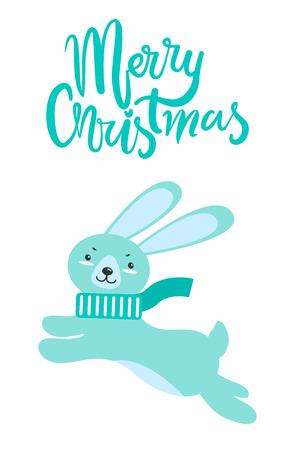 Merry Christmas Greeting Card Rabbit Long Ears. Foto de archivo - 99866229