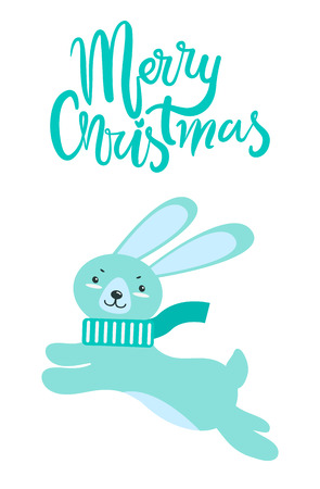 Merry Christmas Greeting Card Rabbit Long Ears.