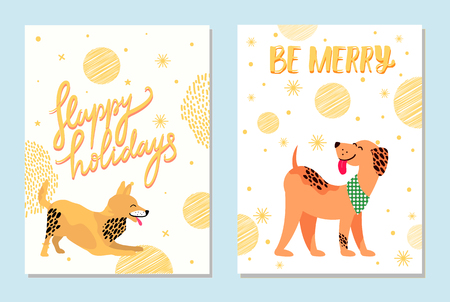 Happy Holidays and Be Merry Postcards with Dogs.