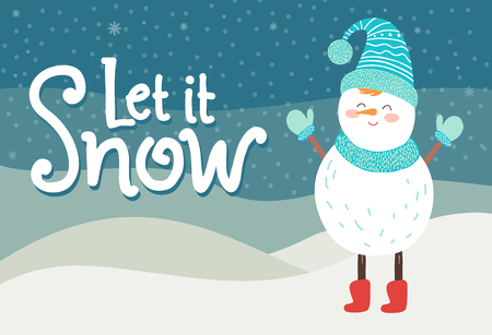Let it snow greeting card smiling snowman in knitted scarf. Иллюстрация