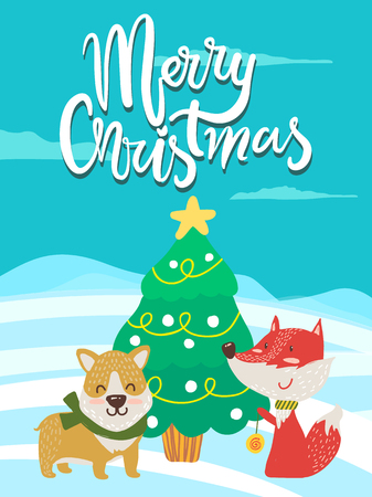 Merry Christmas poster congratulations fox playing yo-yo and dog in green scarf near decorated xmas tree outdoors. Vector smiling animals greeting card