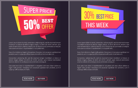 Super price best offer promo stickers on black posters with text vector web banners and buttons read more buy now isolated on dark background