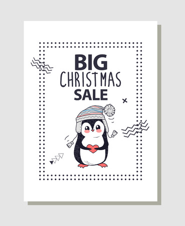 Big Christmas sale promotion poster with cute penguin dressed in knitted hat. Vector illustration with discount clearance and funny animal holding red heart 스톡 콘텐츠 - 100044710