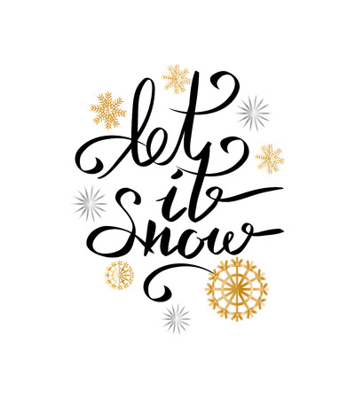 Let it snow inscription on background of snowflakes vector illustration isolated on white. Handwritten calligraphy text on snowballs