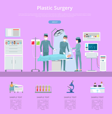 Plastic surgery description with team of doctors and nurses conducting operation. Vector illustration with hospital surgery room on pink background Иллюстрация