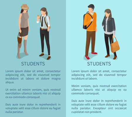 Students collection of posters with text depicting young adults. Isolated vector illustration of dark-haired man and casually-dressed slim women