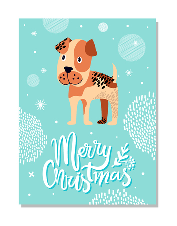 Merry Christmas postcard with boxer puppy and snowflakes vector illustration on blue background. Animal symbol of 2018 year on festive poster.