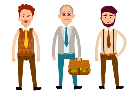 Three men of different looks isolated on white. First Caucasian man with curly hair and whisker, second gray-haired male with bag full of dollar money, third hipster boy with beard vector illustration