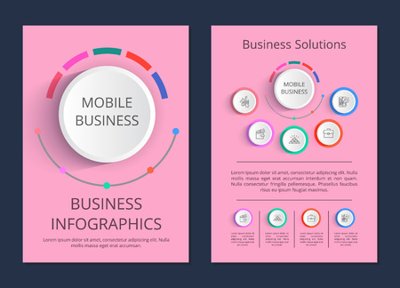 Mobile business solutions with icons of money, wallet and case. Vector illustration with visualization of ideas for business on pink background Stockfoto - 100047170