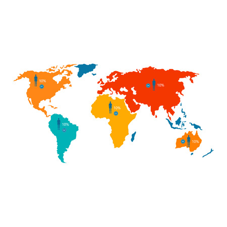 World map with colorful statistical data about population and percentage isolated cartoon flat vector illustration on white background. Illustration