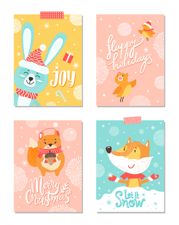 Joy and Merry Christmas, Happy Holidays and let it snow, banners with rabbit, cheerful birds, squirrel with acorn fox isolated on vector illustration