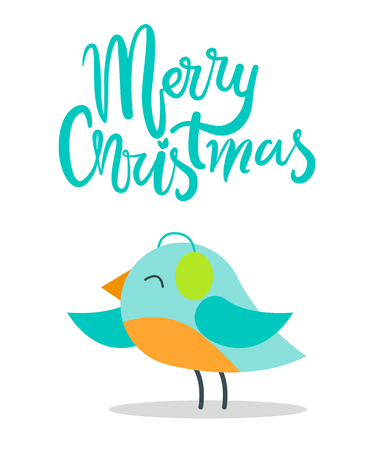 Merry Christmas greeting card with tiny bird with blue plumage in warm earpieces stands on thin legs isolated vector illustration on white background