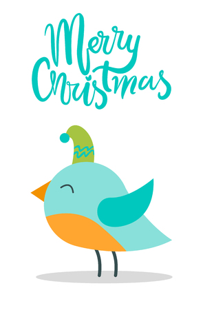 Merry Christmas Greeting Card with Tiny Bird Hat Standard-Bild - 100049513