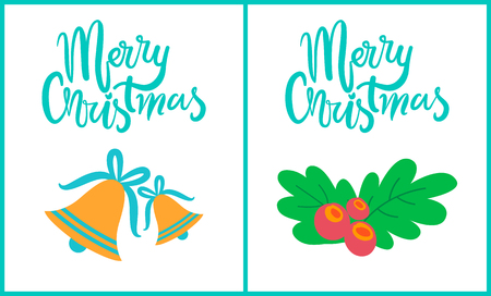 Merry Christmas, collection of placards depicting bells with blue ribbon and bow, and green leaves with berries images isolated on vector illustration