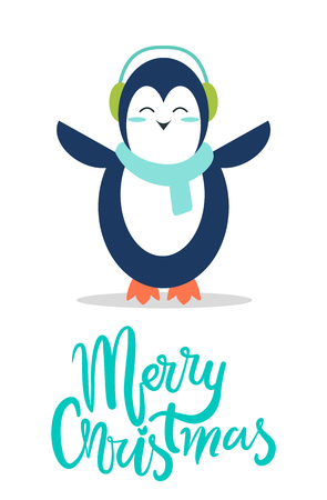 Merry Christmas greeting card with penguin in soft earpieces and warm scarf stands with spread wings and closed eyes isolated cartoon vector postcard Illustration