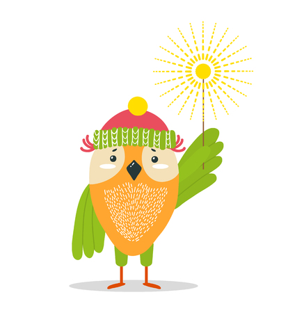 Owl in knitted winter hat with bright sparkler on long stick isolated vector illustration on white background. Funny animal celebrates Christmas.