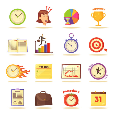 Wall clocks, visual graphics, to do list, wall calendar, leather briefcase, paper notebook and pad, aim with arrow and gold cup vector illustrations.