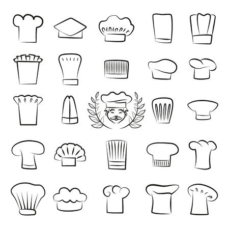Professional tall chefs hats outline sketches set. Work headdresses for cook, male face with mustaches and laurel branches vector illustrations.