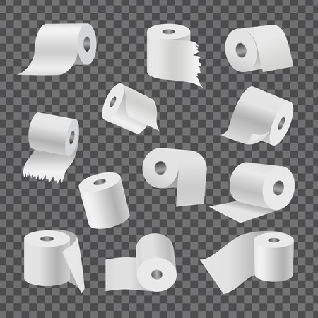 Full rolls of white toilet paper with even and torn edges from all foreshortening isolated vector illustrations set on transparent background. Ilustração