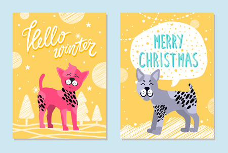 Hello winter and merry Christmas cards with friendly bullterrier and Chinese crested dog that has pink fur surrounded with stars vector illustrations. Standard-Bild - 100049748