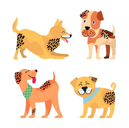Dogs images collection, representing icons of different breeds canine animals, four spotted puppies on vector illustration isolated on white Иллюстрация