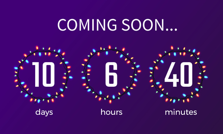 Coming soon timer showing days, hours and minutes, numbers put in circles composed of colorful garlands on vector illustration isolated on purple