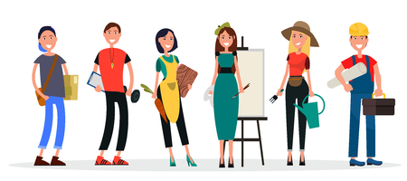 Vector illustration of painter near easel, physical teacher with dumbbell, housewife with carrot, student and builder, gardener with watering can.