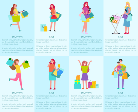 Shopping and sale set of posters with cheerful women and man holding son. Isolated vector illustration of smiling shoppers and bags with new purchases