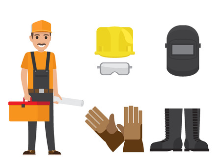 Builder with mustache, cap, toolbox, plan in overalls with set of hardhat, goggles, safety mask, gloves and rubber boots vector illustration.