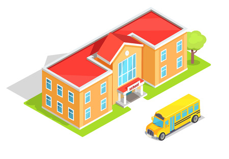School light orange two-storey educational institution with green tree and yellow public bus nearby vector illustration isolated on white background