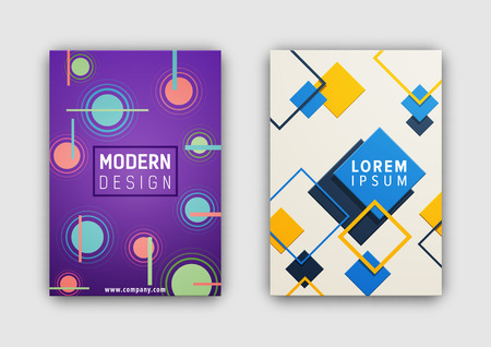 Modern design covering, set of two covers with headline in frame, website link and abstract geometric pattern on vector illustration